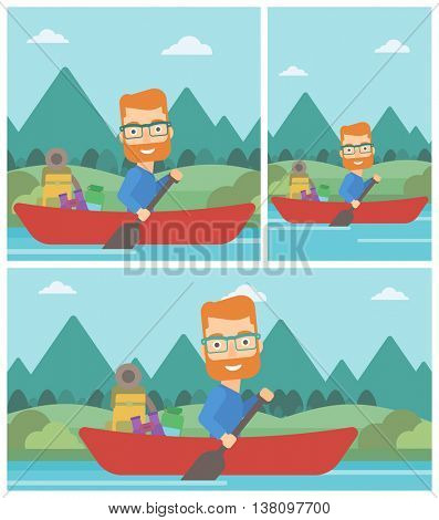 Young man riding in a kayak on the river with a skull in hands and some tourist equipment behind him. Man traveling by kayak. Vector flat design illustration. Square, horizontal, vertical layouts.