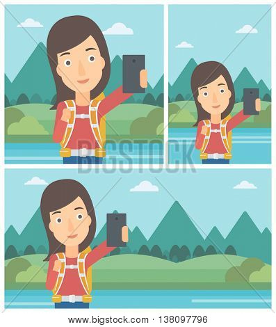 Young woman making selfie on the background of mountains. Travelling woman with backpack taking photo with cellphone. Vector flat design illustration. Square, horizontal, vertical layouts.