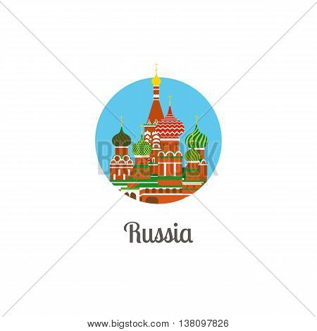 Russia cathedral landmark isolated round icon. Vector illustration