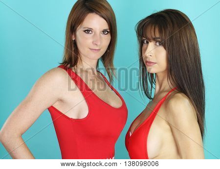 Two sexy babes wearing a red bikini over a blue background