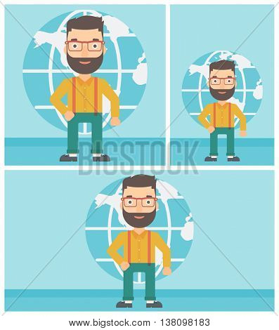 Hipster businessman standing on background of Earth globe. Business man taking part in global business. Global business concept. Vector flat design illustration. Square, horizontal, vertical layouts.