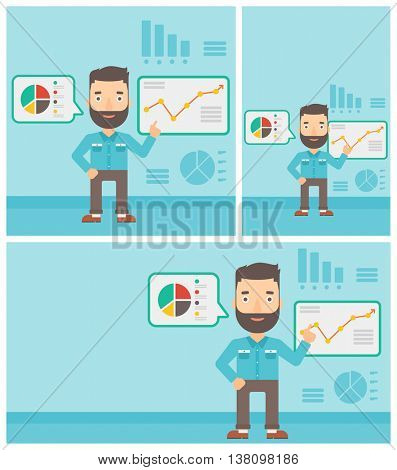 Young hipster businessman pointing at charts on a board during business presentation. Man giving a business presentation. Vector flat design illustration. Square, horizontal, vertical layouts.