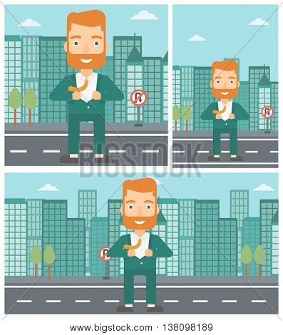 A hipster businessman with the beard opening his jacket like superhero on the background of modern city. Businessman superhero. Vector flat design illustration. Square, horizontal, vertical layouts.