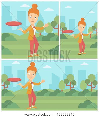 A sportive woman playing flying disc in the park. Young woman throwing a flying disc. Sportswoman catching flying disc outdoors. Vector flat design illustration. Square, horizontal, vertical layouts.