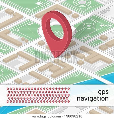 Modern vector illustration of GPS with locations on map and a set of 100 different icons GPS markers. Mobile gps navigation concept. Mobile Gps Navigation technologies concept.