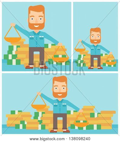 Young hipster businessman with the beard holding scales in hands on a blue background with stacks of coins. Vector flat design illustration. Square, horizontal, vertical layouts.