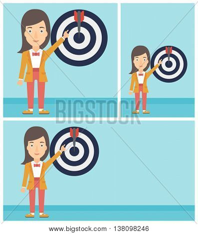 Young business woman pointing at arrow in a target board. Concept of achievement of business goal. Vector flat design illustration. Square, horizontal, vertical layouts.