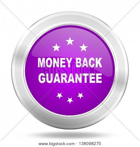 money back guarantee round glossy pink silver metallic icon, modern design web element