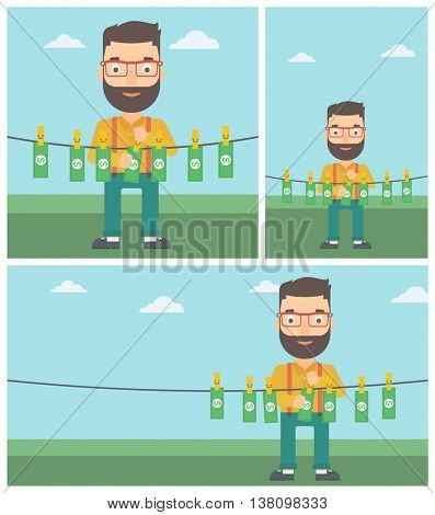 Young hipster businessman with the beard drying banknotes on the clothesline on the background of blue sky. Man loundering money. Vector flat design illustration. Square, horizontal, vertical layouts.
