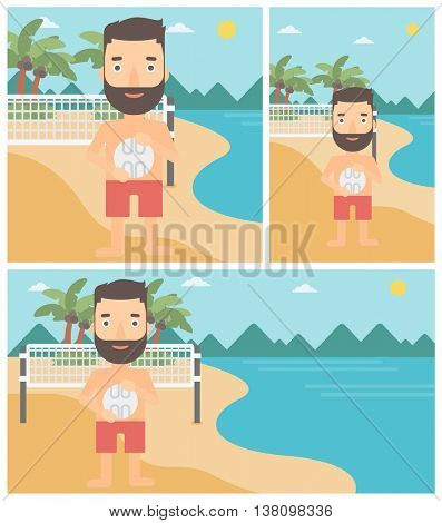 Young sportsman holding volleyball ball in hands. Sportive beach volleyball player standing at the shore with voleyball net. Vector flat design illustration. Square, horizontal, vertical layouts.