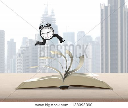 Clock Running On Top Of Flipping Pages Of Open Book On  Table With City View Background, 3D Renderin