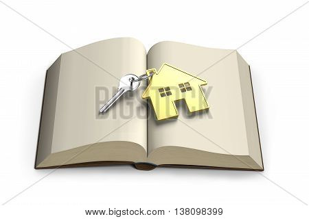 Opening Book With Golden House And Key Front View , 3D Rendering