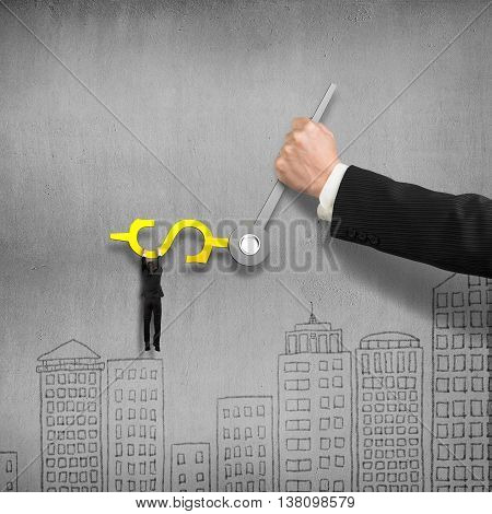Man Grab On Money Sign Clock Hands With Another Holding, Concrete Wall Background, 3D Illustration