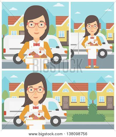Female baker holding a box of cakes. A baker delivering cakes. Baker with cupcakes standing on the background of delivery truck. Vector flat design illustration. Square, horizontal, vertical layouts.