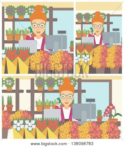 A female florist using telephone and laptop to take orders for flower shop. A florist standing behind the counter at flower shop. Vector flat design illustration. Square, horizontal, vertical layouts.