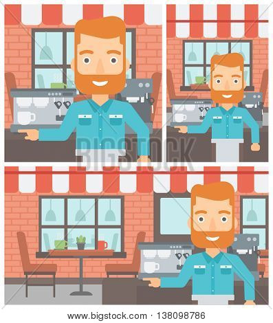 A hipster barista with the beard sanding in front of coffee machine. Barista at coffee shop. Barista making a cup of coffee. Vector flat design illustration. Square, horizontal, vertical layouts.