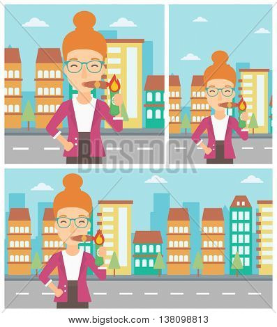 Rich business woman lighting a cigar with dollar bill. Successful business woman smoking cigar on the background of modern city. Vector flat design illustration. Square, horizontal, vertical layouts.