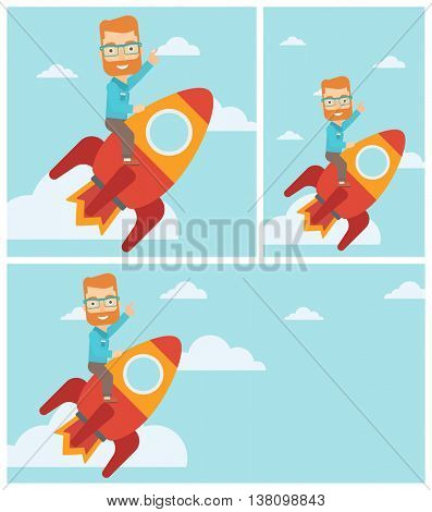 Hipster businessman flying on the business start up rocket and pointing his forefinger up. Successful business start up concept. Vector flat design illustration. Square, horizontal, vertical layouts.