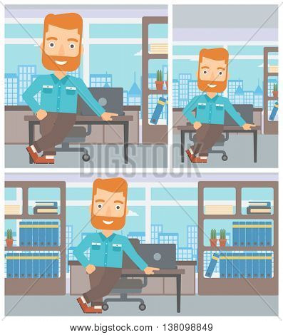 Happy hipster businessman with the beard leaning on a table in the office. Young smiling businessman standing in the office. Vector flat design illustration. Square, horizontal, vertical layouts.