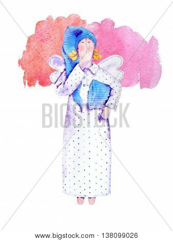 Yawn sleeper watercolor doll in long white with blue polka dot nightshirt and houve. With  wings. Striped pillow in hand. Pink dreams