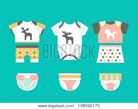 Vector baby clothes. Baby t-shirt shorts panties diapers bodysuit flat template isolated on white background. Vector newborn apparel.