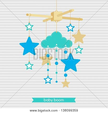 Baby shower invitation template. Illustration of baby mobile: stars and clouds. Isolated baby mobile for scrap booking cards baby shower. Vector baby mobile.