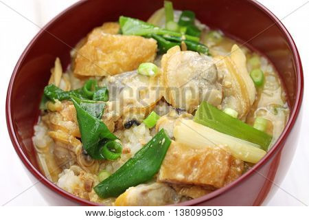 Fukagawadon, miso taste simmered clams rice bowl, Japanese traditional food