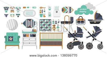Vector objects for a newborn. Products for newborns. Cribs baby stroller childrens clothing toys and other baby stuff for a newborn. Vector baby stuff set in flat style.