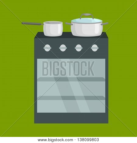 Frying pan on stove kitchenware icons vector set, cooking equipment, cartoon kitchen utensil, domestic cooking tools, steel kitchen household cutlery isolated vector illustration green background