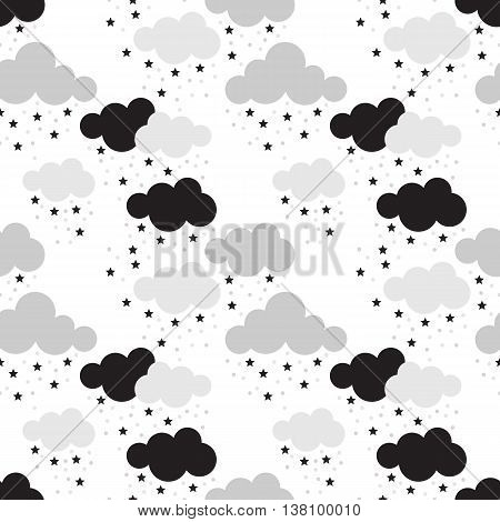 Scandinavian seamless pattern. Newborn seamless pattern with clouds and stars. Kids background. Vector seamless baby pattern. Perfect for kids bed linen baby cotton kids wallpaper.