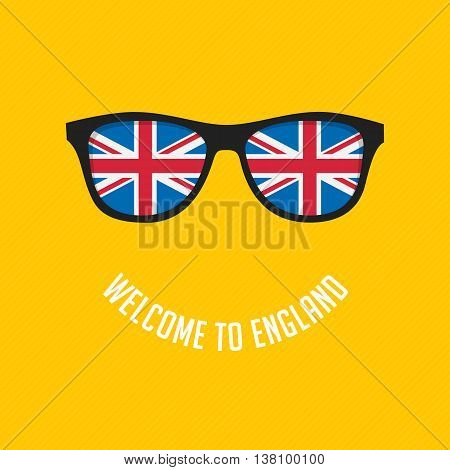 Stock Vector British flag in glasses stylish glasses. Modern vector illustration British flag reflected in stylish glasses.