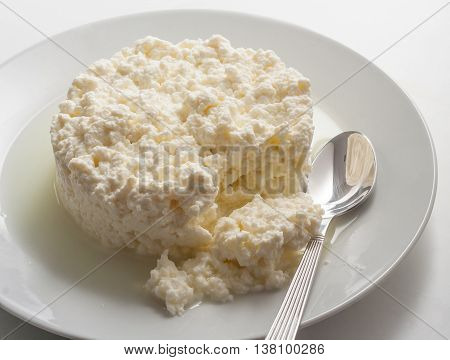 Homemade fresh ricotta whey cheese on a plate with a spoon