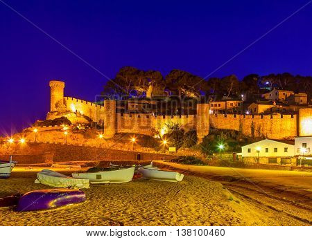 Tossa de mar, Costa brava, Spain: fortress and fishing boats