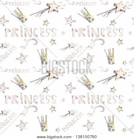 Watercolor pattern for princess. Crown, stars, magic wand for girl lady - small queens
