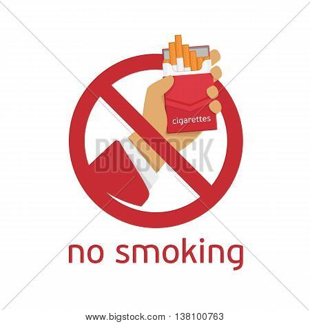 No smoking sign on white background. Modern non-smoking sign in a flat style.