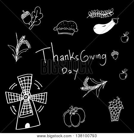 Thanksgiving on black backgrounds in doodle vector