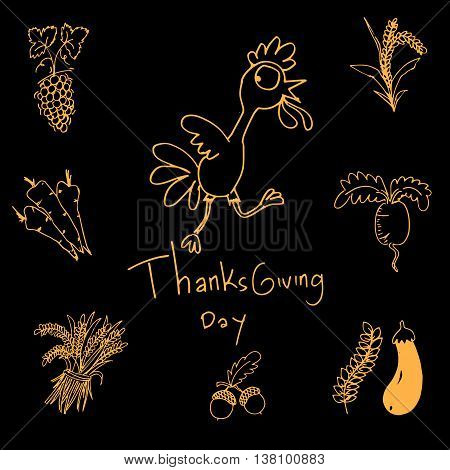 Thanksgiving doodle set vector art with hand draw
