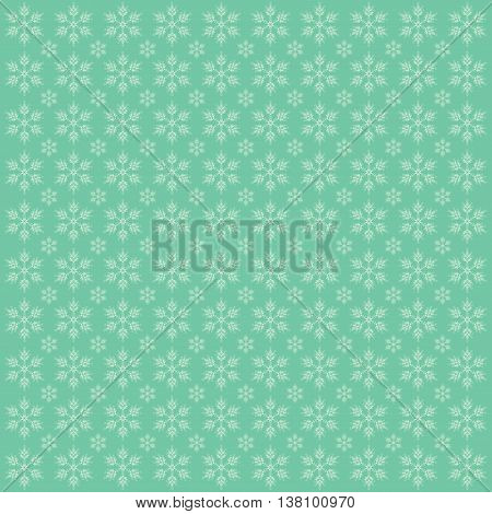 Abstract Christmas background with snowflakes. Green image.