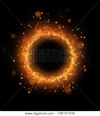 fire burning circle with sparks on a black background