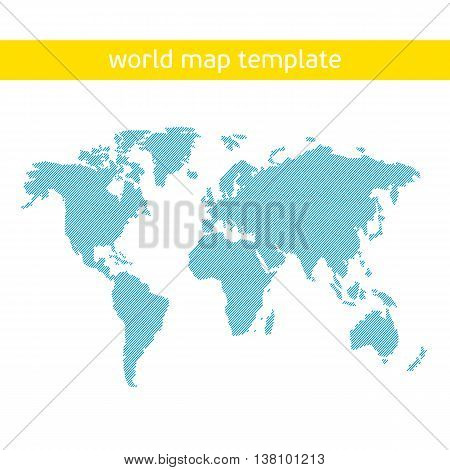 Blue similar world map. World map card - stock vector.