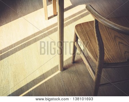Wooden chair and Table with morning light Interior Abstract background