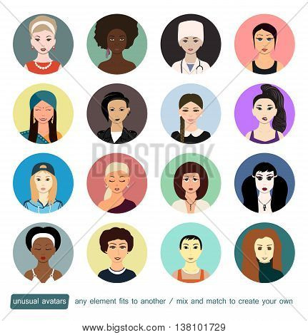 Unusual avatars collection. Girls, womans in different social roles. Every face element, accessory or clothes can be placed on another to create own avatar. Doctor, school, dark-skinned, subculture.