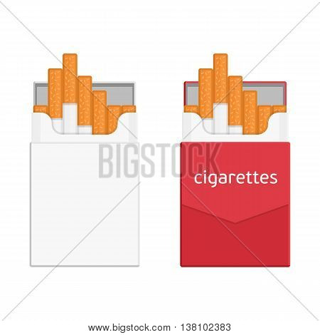 Pack of cigarettes isolated on white background. Contemporary illustration of an open pack of cigarettes. Icon pack of cigarettes in a flat style. Template pack of cigarettes and tobacco products.