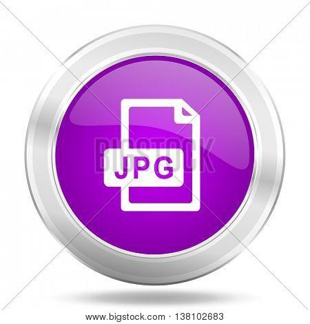 jpg file round glossy pink silver metallic icon, modern design web element