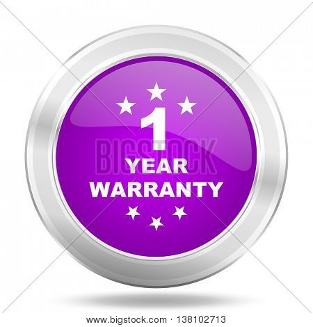 warranty guarantee 1 year round glossy pink silver metallic icon, modern design web element