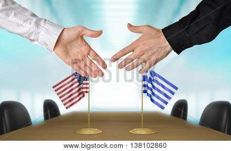 United States and Greece diplomats shaking hands to agree deal, part 3D rendering