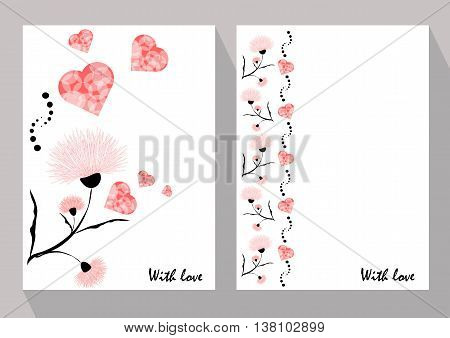 Greeting cards with abstract pink flowers in ethnic style for declarations of love a gift for a loved one or a donation for the holiday or other