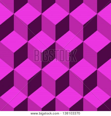 Abstract Seamless pattern vector pink cube. Vector Illustration