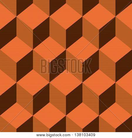 Abstract Seamless pattern vector orange cube. Vector Illustration