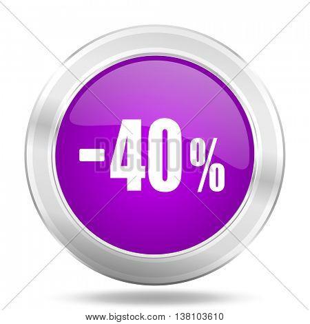 40 percent sale retail round glossy pink silver metallic icon, modern design web element